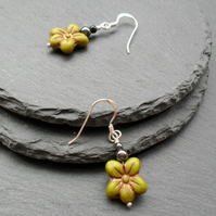 Czech Glass Flower Beads Sterling silver Earrings