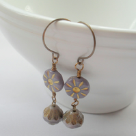 Lilac Drop Earrings With Czech Glass Beads Vintage Earrings