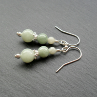 Sterling Silver Burmese Jadeite Gemstone Earrings Jade Earrings