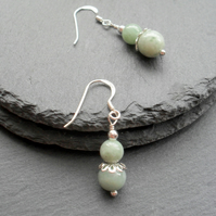 Burmese Jadeite Drop Sterling Silver Earrings
