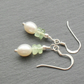 Dainty Earrings with Freshwater Pearls and Prehnite Gemstones Sterling Silver