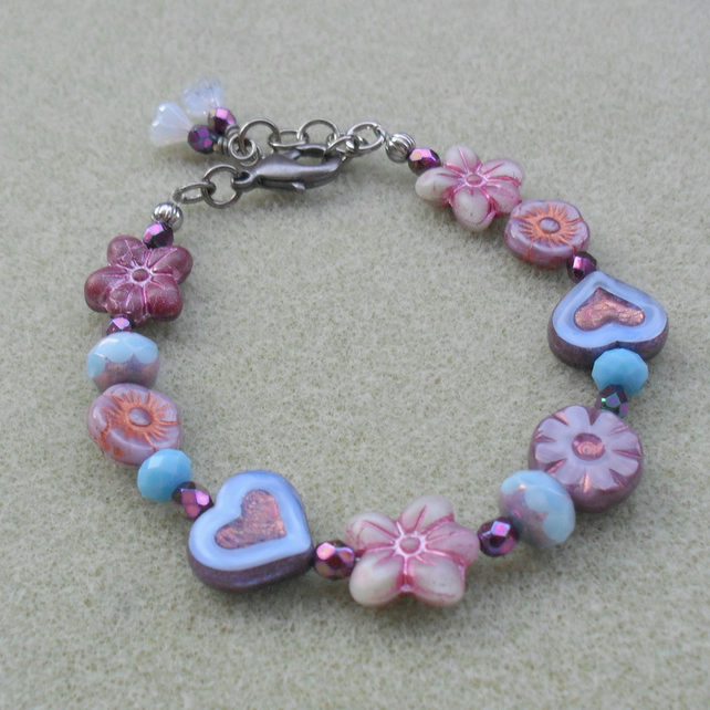 Blue and Lilac Flower and Heart Beaded Bracelet Black Tone Vintage