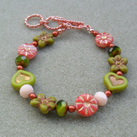 Heart and Flower Bracelet in Green and Peach tones With Rose Gold Plated