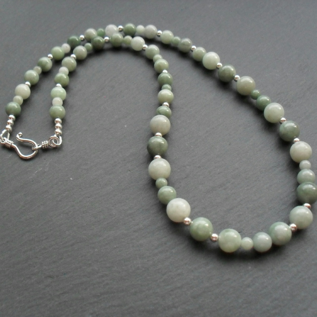 Burmese Jadeite Necklace With Sterling Silver Jade Necklace