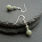 Sterling Silver Burmese Jadeite Dangle Earrings Jade Earrings