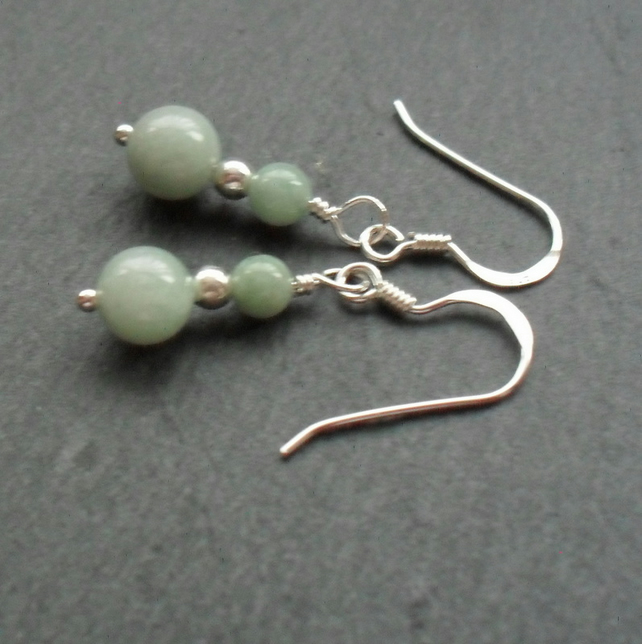 Burmese Jadeite Gemstone Sterling Silver Earrings Jade Earrings