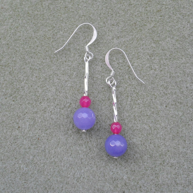 Deep Pink and Lilac Dangle Silver Plated Earrings