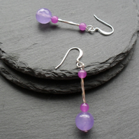 Lilac Dangle Drop Quartz Silver Plated Earrings