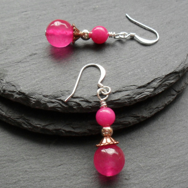 Fuchsia Quartz and Quartzite Dangle Drop Earrings