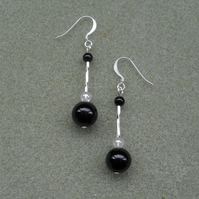 Black Agate Drop Dangle Earrings Silver Plate