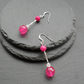 Hot Pink Drop Dangle Quartz Earrings Silver Plate