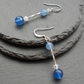 Blue Quartz Dangle Drop Earrings Silver Plate