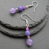 Lilac Drop Earrings Silver Plate