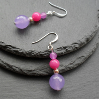 Lilac and Bright Pink Semi Precious Gemstone Earrings