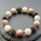 White and Peach Moonstone Stretch Bracelet Bronze Tone Beads