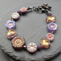 SALE Flower and Heart Bracelet with Czech Glass Beads  Vintage Style