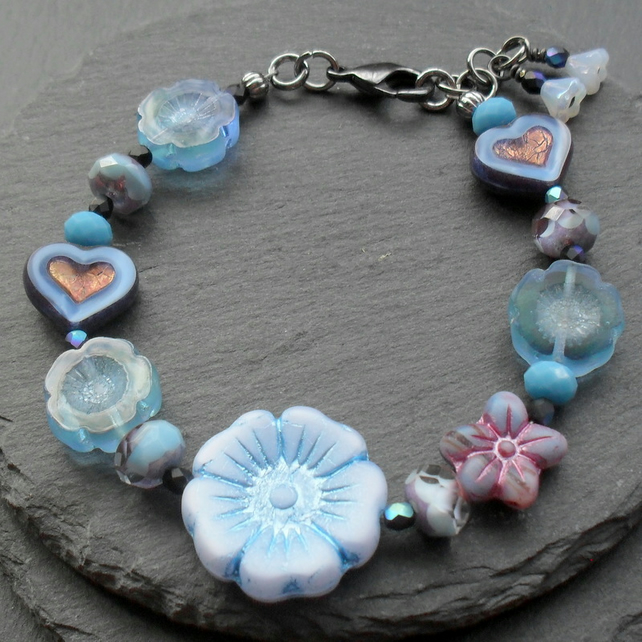 Blue Heart and Flower Czech Glass Beaded Bracelet Vintage Bracelet