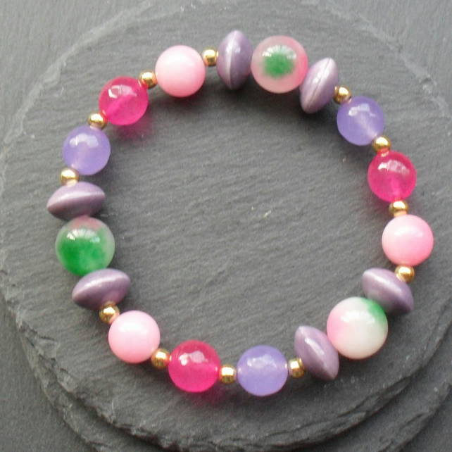 Colourful Quartz and Ceramic Beaded Stretch Bracelet On Elastic