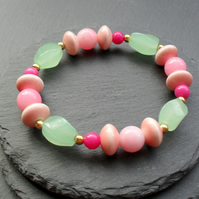 Colourful Quartz and Ceramic Stretch Bracelet With Ceramic Beads