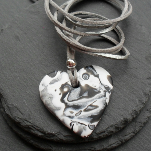 Black Silver and White Polymer Clay Pendant