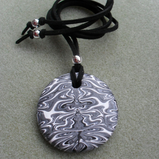 Round Polymer Cay Pendant Silver Black and White