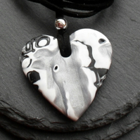 Heart Shaped Pendant in Polymer Clay