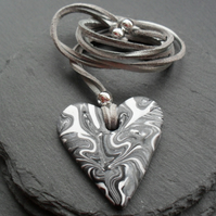 Black White and Silver Heart Polymer Clay Pendant