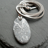 Silver and White Coloured Polymer Clay Pendant