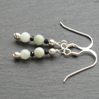 Burmese Jadeite With Black Spinel Gemstones Sterling Silver Earrings