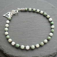 Burmese Jadeite and Black Spinel Dainty Sterling Silver Bracelet