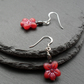 Deep Pink Czech Glass Flower Beads and Haematite Sterling Silver Earrings
