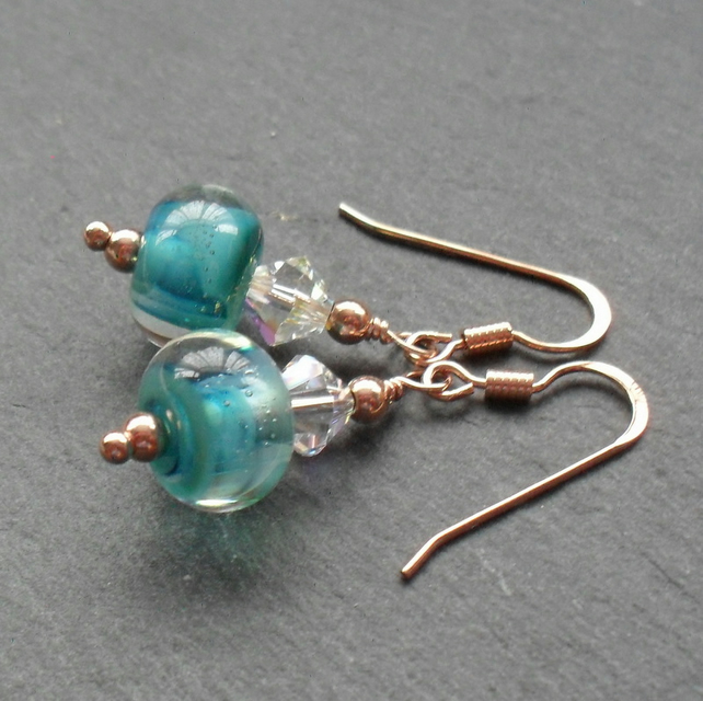 Rose Gold Vermeil Blue Lampwork Glass Earrings With Swarovski Elements
