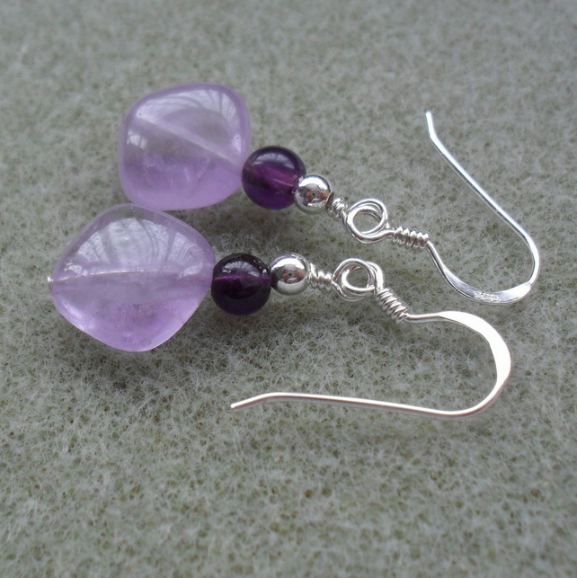 Purple and Lavender Amethyst Drop Earrings Sterling Silver