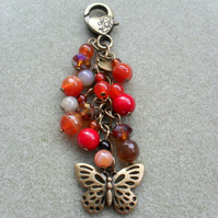 Bronze Tone Butterfly Bag Charm Autumn Colours