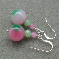 Water Melon Coloured Quartz Drop Earrings Silver Plate