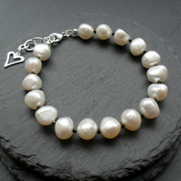 Sterling Silver Freshwater Pearls and Black Spinel Gemstone Bracelet