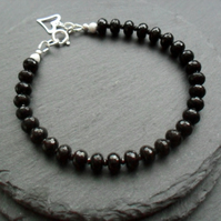 Black Agate and Black Spinel Semi Precious Gemstone Sterling Silver Bracelet