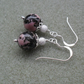 Rhodonite Semi Precious Gemstone Sterling Silver Earrings