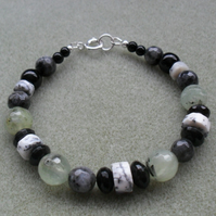 Dendrite Opal Prehnite Lavakite and Agate Sterling Silver Bracelet
