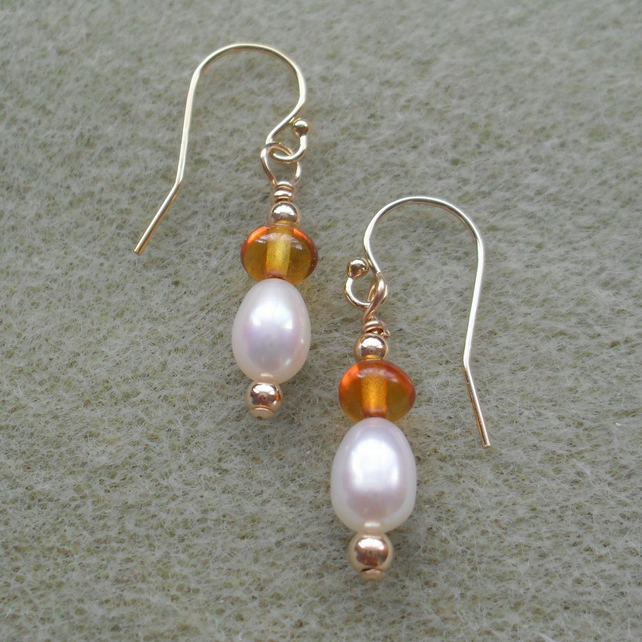 Gold Filled Freshwater Pearls with Baltic Amber Drop Earrings