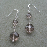 Smoky Quartz Dangle Drop Sterling Silver Earrings