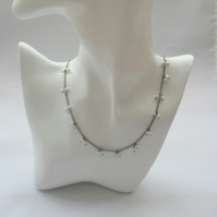 Dainty Chain Necklace With Freshwater Pearls