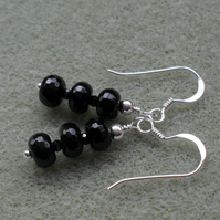 Black Agate and Spinel Semi Precious Gemstone Sterling Silver Earrings