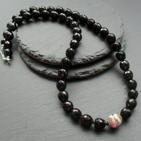 Black Onyx and Black Spinel Sterling Silver Necklace and Earrings