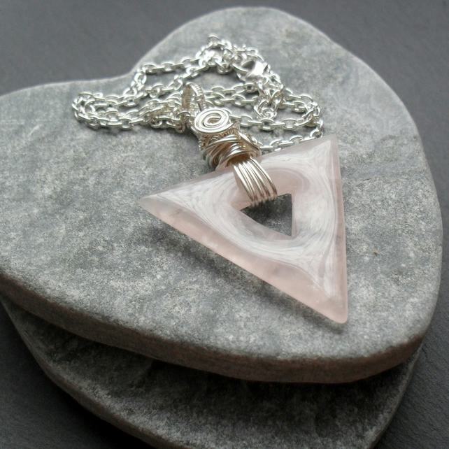 Rose Quartz Triangle Shaped Wire Wrapped Pendant