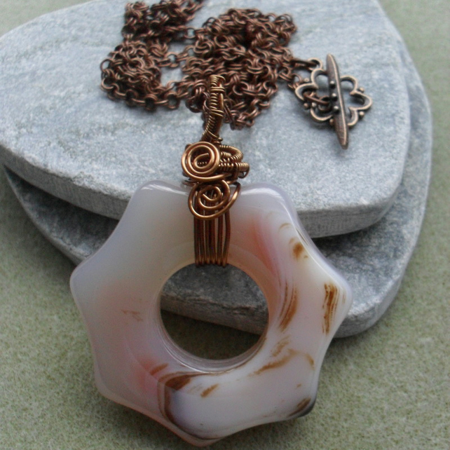 Agate Doughnut Shaped Stone Wire Wrapped Bronze Tone Pendant