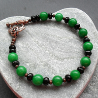 Antique Copper Tone Bracelet With Black Agate and Green Quartzite