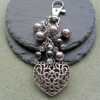 Antique Silver Heart Sparkle Bag Charm Stocking Filler