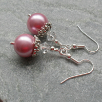 Pink Shell Pearl Earrings With Swarovski Elements