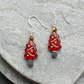 Red Christmas Tree Earrings Christmas Earrings Stocking Filler